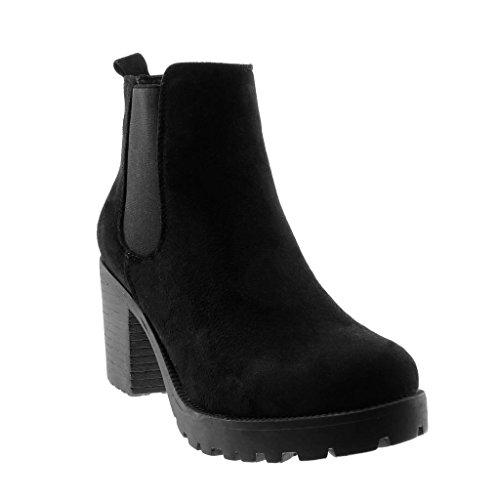 Angkorly - Dames schoenen laarzen - Chelsea Boots - Plateauschoenen - Slip-On - elastische blokhak hoge hak 8 cm