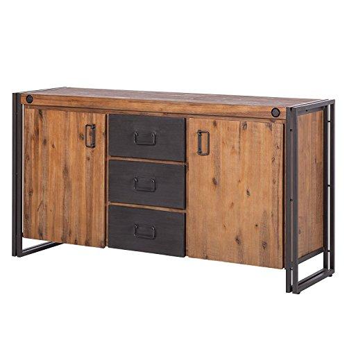 Meubletmoi vintage dressoir/dienblad van massief hout & metalen frame/2 deuren & 3 laden/L180 cm - Collectie Workshop