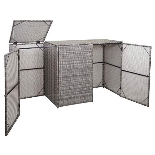 Mendler 3er-Mülltonnenverkleidung HWC-E25, Mülltonnenbox Mülltonnenabdeckung, Poly-Rattan 3x120l ~ grau