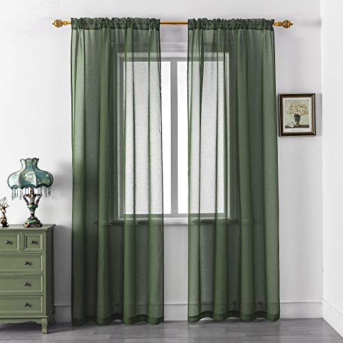 DUALIFE Hunter Green Sheer Curtains 84 Inches Long,Linen Look Semi Sheer Curtain Drapes for Living Room Bedroom Nursery Kitchen Bathroom Privacy Voile Window Treatment Panels,52 x 84 Inches,Set of 2