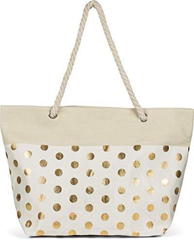 styleBREAKER Damas XXL Bolsa de playa grande con estampado de puntos metálicos y cremallera, bolso de hombro, comprador 02012342, color:Beige-Oro
