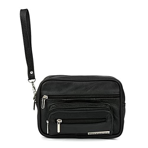 BELTIMORE, Bolso de cuero para hombre, Correa de mano con cinturón, 3 bolsillos, 2 compartimentos, 21x15x7 cm, Negro
