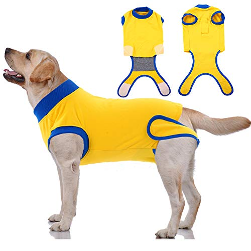 Dog Recovery Suit After Surgery,Pet Surgical Onesie Abdominal Wound Protector,Pet Cone E Collar Bandages Alternative Spay Recovery Vest Weaning Shirt,Post-Operative Clothes for Male Female Dogs Cats