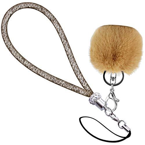 Cordón con pompón y tubo de rejilla relleno con brillantes diamantes de imitación, correa de muñeca para teléfono, cámara, tarjeta de identificación y llave USB, color champán corto