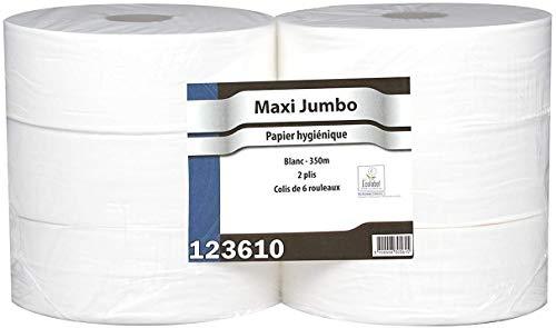Papier Hygiénique Maxi Jumbo - Pure Ouate Blanche 2x17g/m² - Pack De 6 Rouleaux - T320 Mètres - Dimension 8,8x12,5cm - Af40402 - Fabricant Français