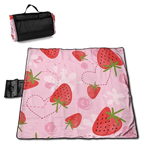 Tyyyy Große wasserdichte Outdoor-Picknickdecke Erdbeer-Joghurt-Liebe Rosa Sanddichte Strandmatten-Tasche für Camping Wandergras Reisen