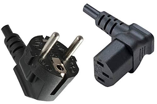 DINIC Stromkabel, Netzkabel CEE 7/7 auf C13 90 Grad abgewinkelt, 3-polig (1,80m, unten gewinkelt, schwarz)