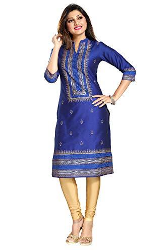 Unifiedclothes Top Damen Kurta-Shirt, indisch, blau, ethnisch, Baumwolle, Seide, MM140 Gr. 42, blau