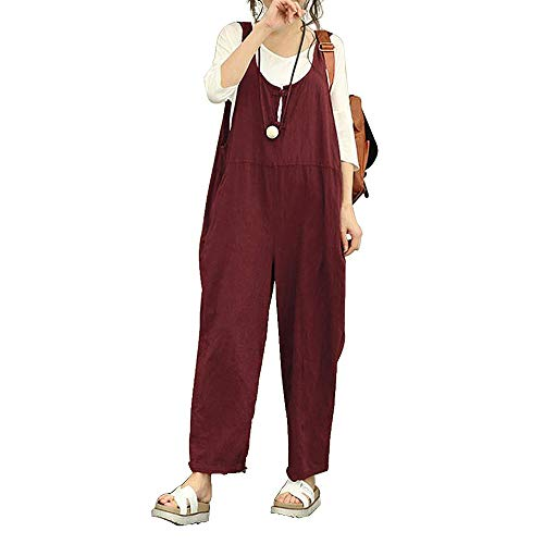 Damen Frauen Retro Latzhose Lässig Insgesamt Baggy Jumpsuits, Morbuy Leinen Taschen Playsuit Hose Lange Harem Casual Overalls Täglichen Trousers Pants (L,Rotwein)