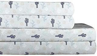 AURAA Essential 300 Thread Count 100% Long Staple Printed Cotton Sheet Set - 4 Piece Set, Soft & Smooth Sateen Weave, Luxury Hotel Bedding,Oeko-TEX Certified (Cactus, Queen)