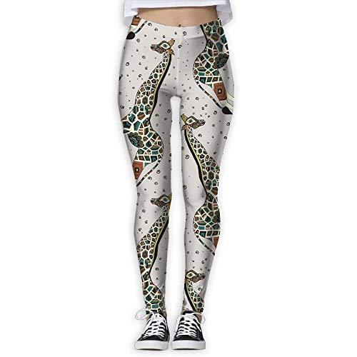 Deglogse Pantalones De Yoga, Polainas De Entrenamiento,Bohemia Giraffe Pattern Pants Yoga Workout Fitness Capris Leggings for Women Girls