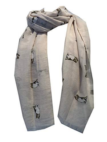 Pamper Yourself Now Beige-Collie Hund, langer Schal mit ausgefransten Rand - Beige Collie dog, long Scarf with frayed edge
