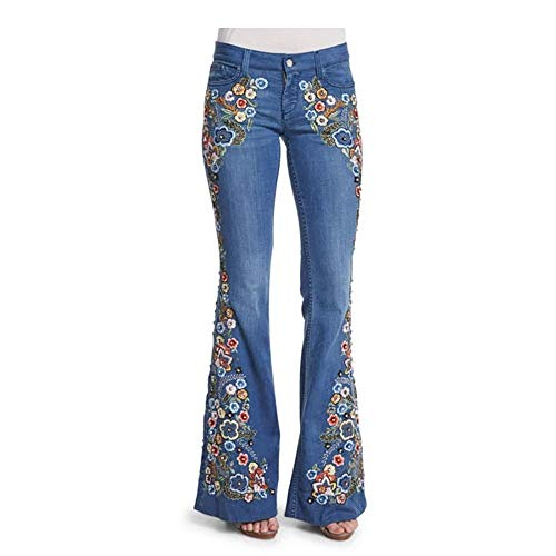 Loozykit Damen Jeans Schlaghose Flared Bootcut Hose Stretch Skinny Jeanshose Blumen Stickerei Slim Fit Retro High Waist Schlagjeans Denim Hose (L, Dunkelblau)