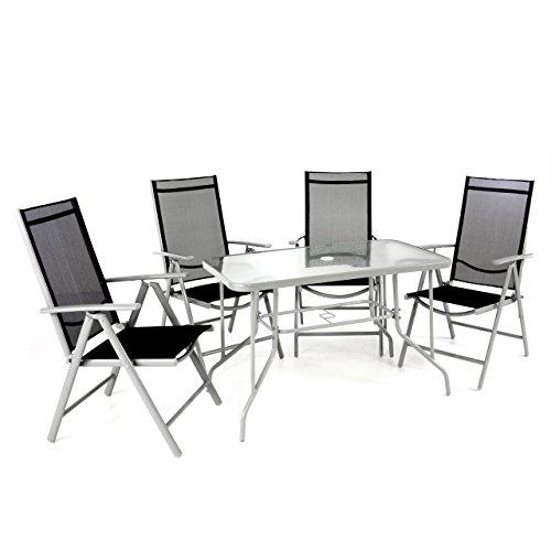 Nexos 5-teiliges Gartenmöbel-Set – Gartengarnitur Sitzgruppe Sitzgarnitur aus Klappstühlen & Esstisch – Stahl Alu Glas – Textilene schwarz/Rahmen grau