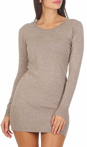 Fashion4Young 10963 Damen Feinstrick Pullover Strickpullover Langarm Rundhals Strickkleid Mini (Cinder, S/M=34/36)