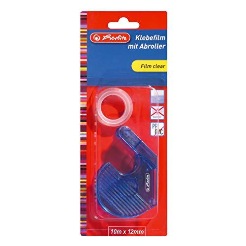 Herlitz 8735003 plakfolie 10 mx12 mm transparant 1 stuk met roller op kleur gesorteerd