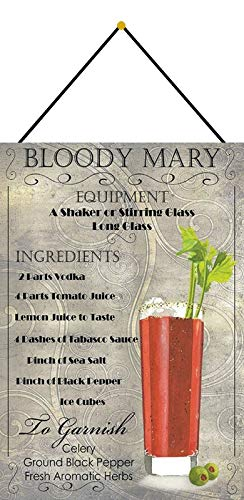 Metalen bord 20x30cm gebogen met koord Cocktail Recept Bloody Mary Wodka Tomato Tabasco Deco Gift Shield