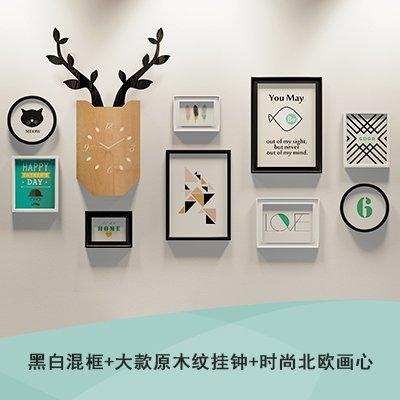 De Scandinavische herten klokken foto muur persoonlijkheid creatieve woonkamer wanddecoratie met houten doos Combinatie Print Foto's