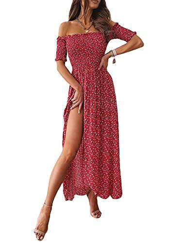 Eghunooye Damen Lange Kleid Off Shoulder Rüsche mit Puffärmel Blumendruck Sommerkleid Cocktail Partykleid Maxikleid Strandkleider mit hohem Schlitz (Rot, 36)