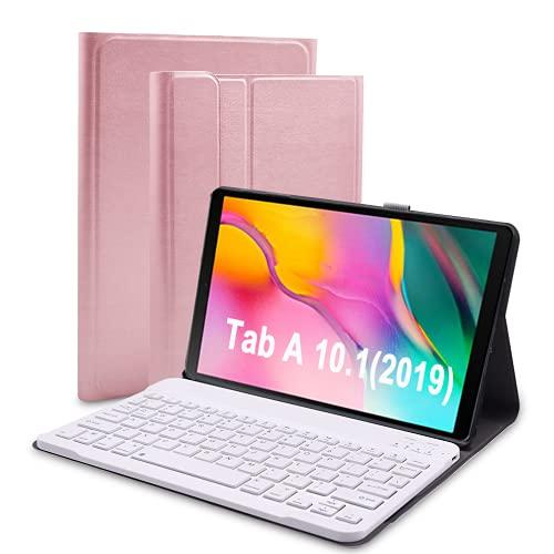 Funda con Teclado para Galaxy Tab A 10.1 T510 / T515 2019, Funda Lachesis de Piel sintética para Tableta con Teclado Bluetooth inalámbrico Desmontable, Funda Delgada para Galaxy Tab A 10.1, Rose Gold