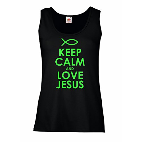 Damen Tank-Top Liebe Jesus Christus, christliche Religion - Ostern, Auferstehung, Geburt Christi, religiöse Geschenkideen (Medium Schwarz Grün)