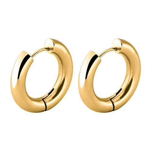 Earrings Women Studs Simple Geometric Circle Stud Earring Men Woman Earrings Male Jewelry-12Mm-Gold