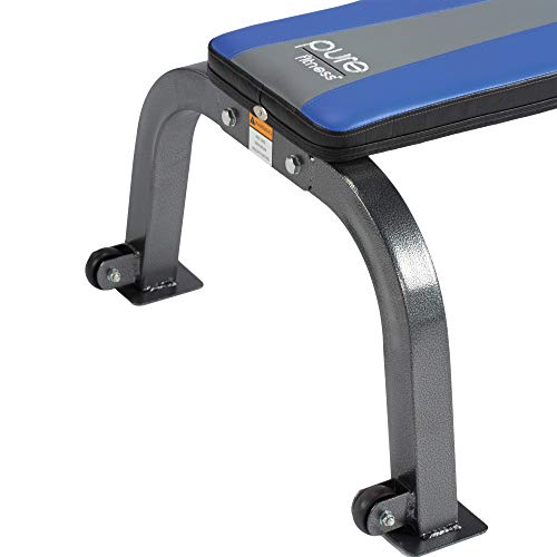 Pure Fitness Portable Flat Bench, blue/black