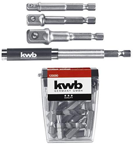 kwb 120090 23-teiliges Bit-Set inkl. Stecknuss-Adapter und Bithalter 80 mm/Verlängerbar auf 118 mm für Akku-Schrauber, Steckschlüssel-Vierkantadapter