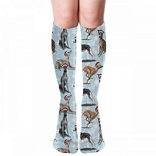 Medlin The Christmas Whippet Calcetines de compresión Calcetines de fútbol Calcetines largos Calcetines altos de 50 cm (19,7 pulgadas)