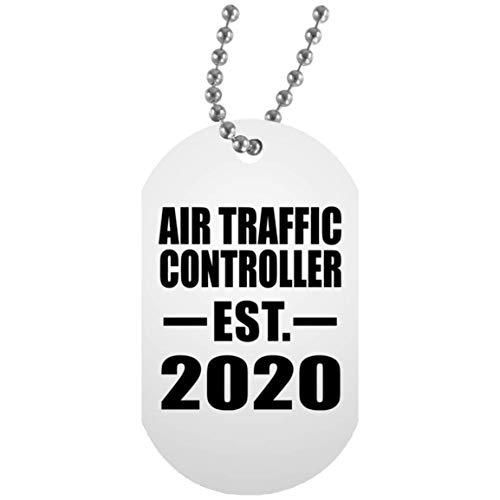Air Traffic Controller Established EST. 2020 - White Dog Tag Militär Hundemarke Weiß Silberkette ID-Anhänger - Geschenk zum Geburtstag Jahrestag Muttertag Vatertag Ostern