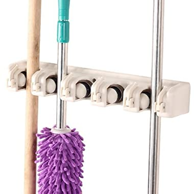 Kitchsmart - Multipurpose Wall Mounted Organizer. Ideal for hanging MOPS, BROOMS, TOOLS, SPORT EQUIPMENTS. The best Garage Organizer System! (White)