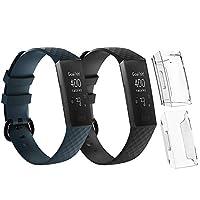 Seafirst フィットビット チャージ適用バンド+保護カバー Lサイズ Fitbit charge3/charge3 SE/charge4/charge4 SE適用ステンレス 4点セット ブラック+ダークグレー