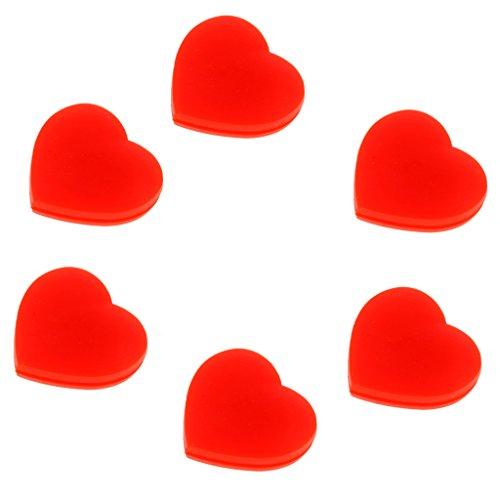 MagiDeal 6pcs Herz Form Vibrationsdämpfer Tennisschläger Stoßdämpfer - Rot