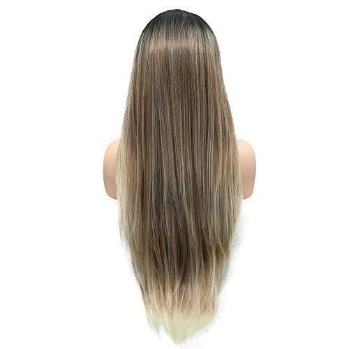 Perruque résistante à la chaleur avec racines noires et marron, brun ombré avec pointes de cheveux blonds, perruques synthétiques pour femmes 61 cm