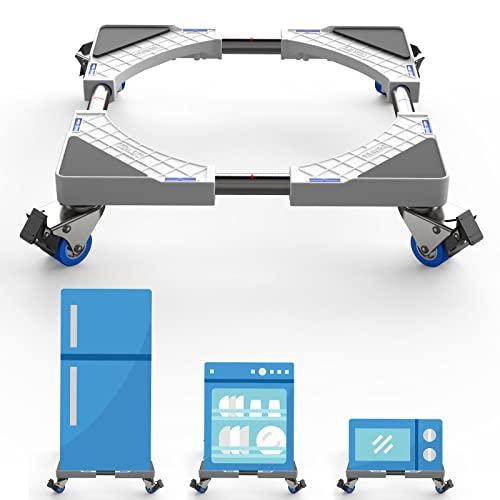 Dewel Base mobile regolabile 44,8~69 cm per lavatrice multifunzione con 4 ruote girevoli doppie in gomma Rondella, asciugatrice e supporto per frigorifero, 360 ° rotazione