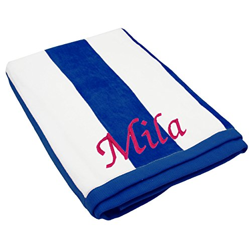 "The Wedding Party Store Premium Personalized Striped Cabana Beach Towel 35"" x 60"" - Monogrammed Pool Towels - Custom Embroidered (Blue)"
