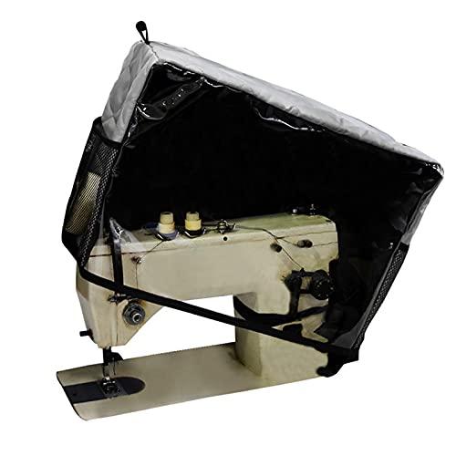 WHCL Cubierta para máquina de Coser, Cubiertas Transparentes para máquina de Coser doméstica con Bolsillos Almacenamiento y Ventana PVC, Compatible con la mayoría Las máquinas estándar,Gris