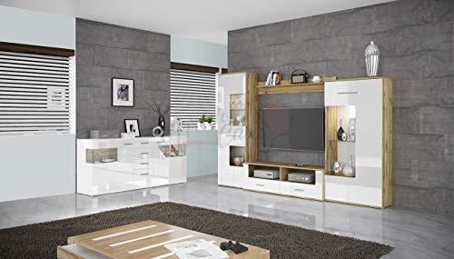 Arredodacasa.com Parete attrezzata Mobile Soggiorno Bianco Lucido MOD PAILS
