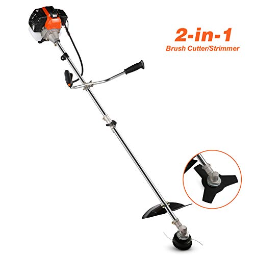 COOCHEER 42.7CC 2-Cycle Straight Shaft Gas Powred Weed Eater Weed Trimmer, 2-in-1 Gas String Trimmer and Brush Cutter with 2 Detachable Head