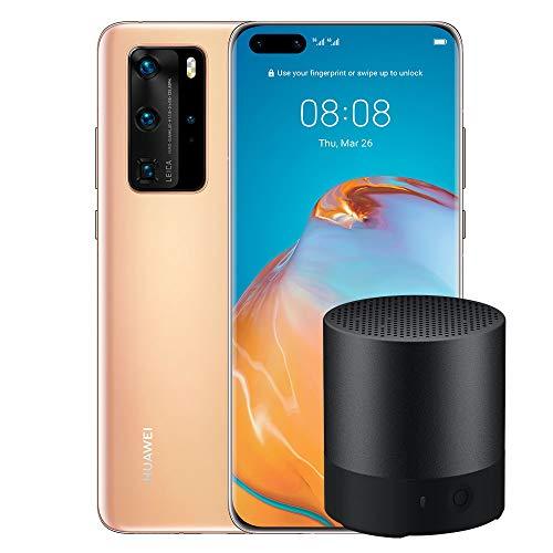 """Alto-falante Bluetooth e smartphone Huawei P40 Pro, visor acústico de 6.58 """", quatro câmeras Leica 50 + 40 + 12MP e sensor TOF, Kirin 990 5G Octa Core, ouro (versão italiana)"""