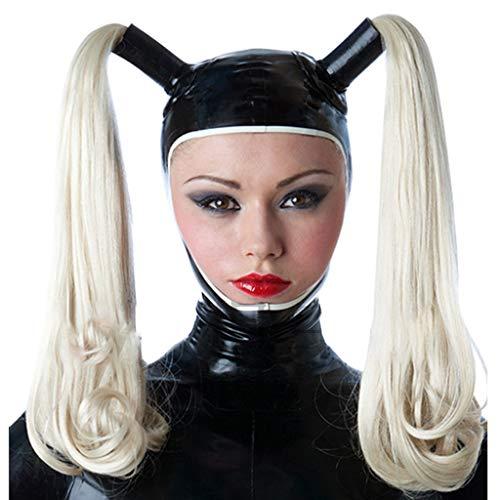 ZYAM 100% SM Latexm-ḁṤ-kè, Halloween Full Head Gummi Latex Fetisch erotische Einschränkungen Bondage m-ḁṤ-kè (enthält Perücke)-L