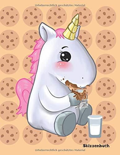 Skizzenbuch: Einhorn isst Cookie Keks - Lustiges Einhorn Skizzenbuch. Ideal für Skizzen, zeichnen, malen und kreative Ideen. DIN A4+ (8,5