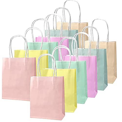 milaosk 12 Piezas Bolsas Papel Regalo Colores Bolsas Papel Kraft Bolsas de Papel con Asas para Fiestas Navidad Cumpleaños Regalos (15 * 12 * 6cm)