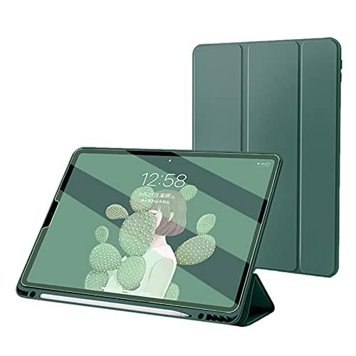 WYZDQ Fundas para iPad Pro De 11 Pulgadas 2021 con Portalápices, Funda Protectora A Prueba De Golpes con Reposo/Activación Automático, Funda Inteligente con Soporte Triple Delgado,Verde