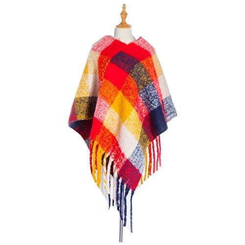 Memefood Bufanda de invierno de gran tamaño, mantón suave y grueso borlas a cuadros abrigados