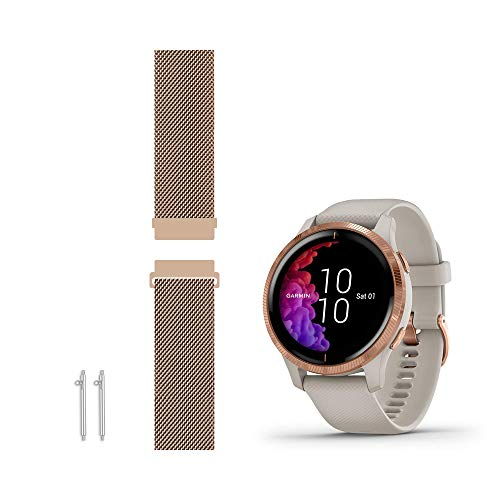 Leiou Compatible with Garmin Venu (Sq-Standard/Music) Bands Smart Watch Replacement Band (Rose Gold, Small)