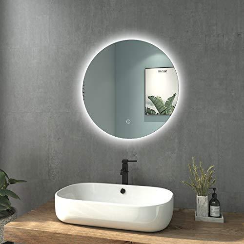 welmax Badezimmerspiegel Rund mit Beleuchtung 60cm Durchmesser Spiegel LED Kaltweiß Lichtspiegel Wandspiegel mit Touchschalter, Wasserdicht IP44, Energieklass A++