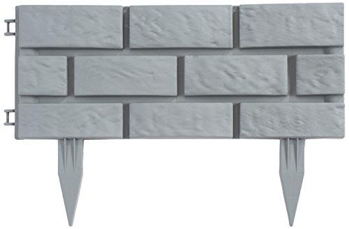 Greenhurst 4191 Bordi Da Giardino In Plastica Effetto Mattoni, 43 X 17.5 Cm, Grigio (Heritage Grey), 4 Pezzi