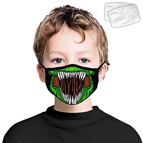 Kids T-Rex Dinosaur Teeth Seamless Cute Bandana Face Dust Mask for Boys Girls Easy Breathing Protection Covering