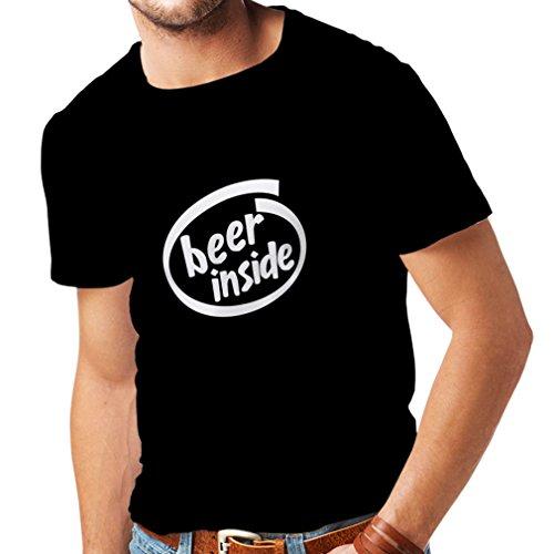 Männer T-Shirt Bier innen - für Bierliebhaber, lustiges Logo, humorvolles Geschenk, Kneipe, Bar, Party-Kleidung (XXX-Large Schwarz Weiß)